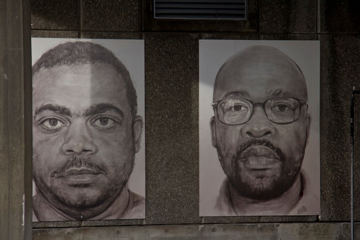 Drawn Portraits at Back Entrance of National Theatre