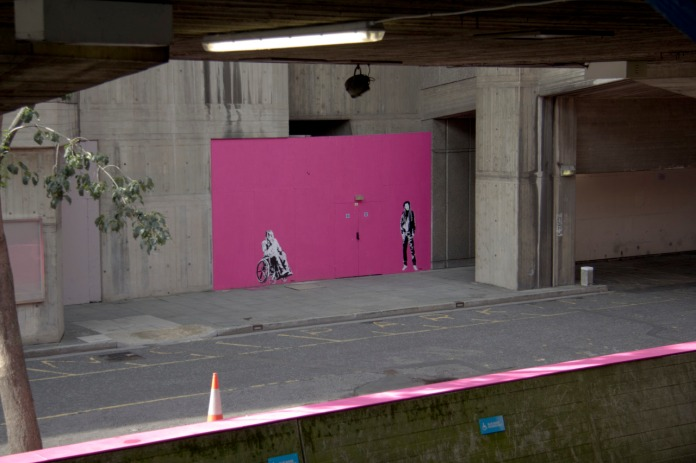 Banksy's Pink Wall near the National Theatre in London.