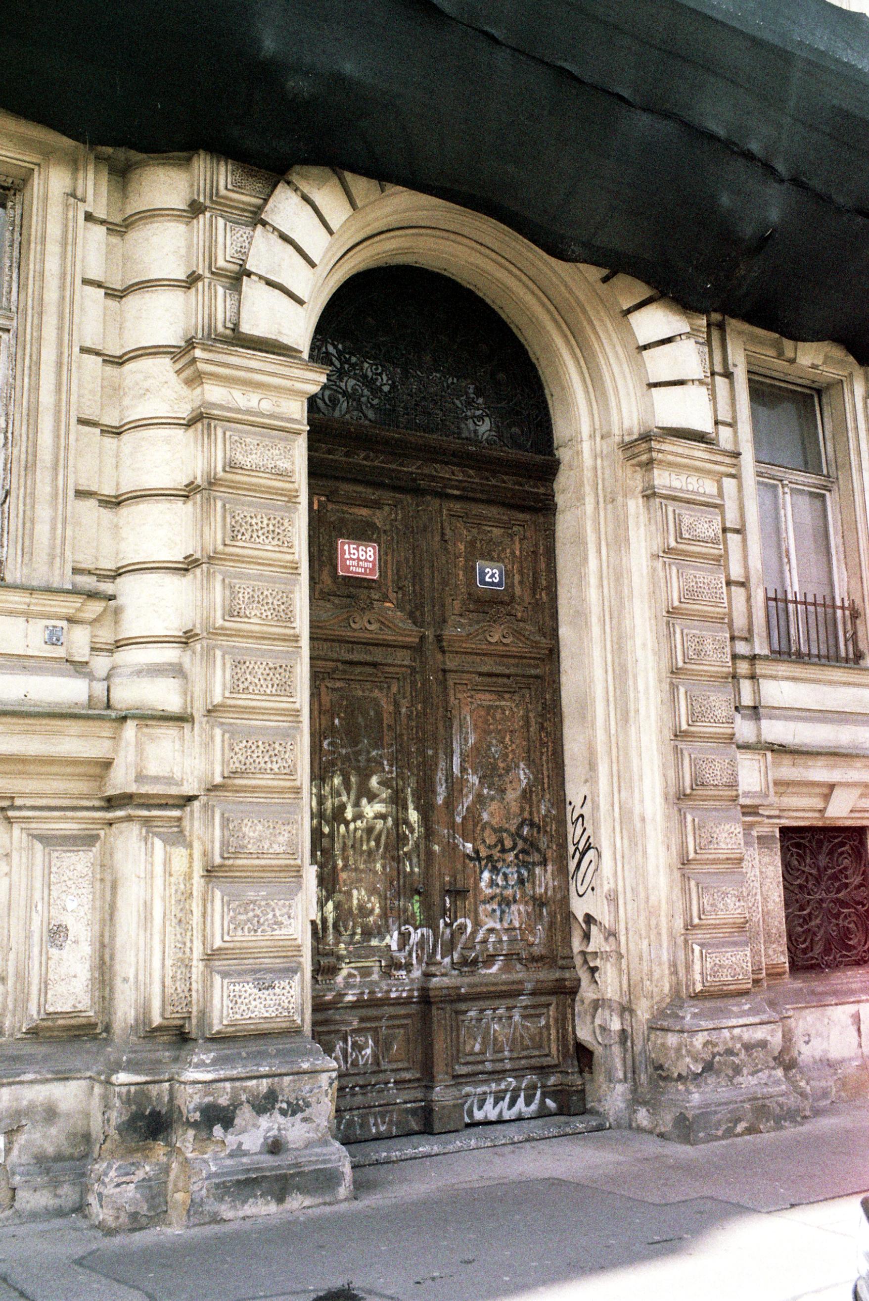 Door of Abandoned Town House in Prague.