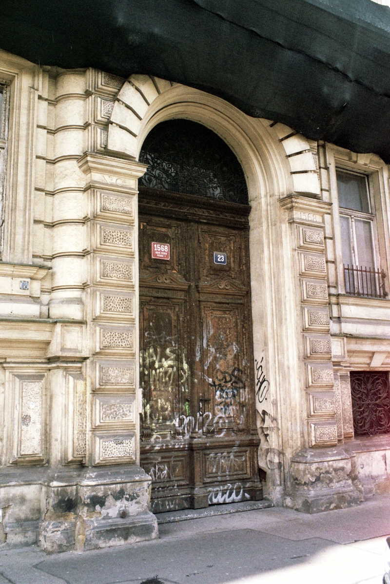 Door of Abandoned Town House in Prague.