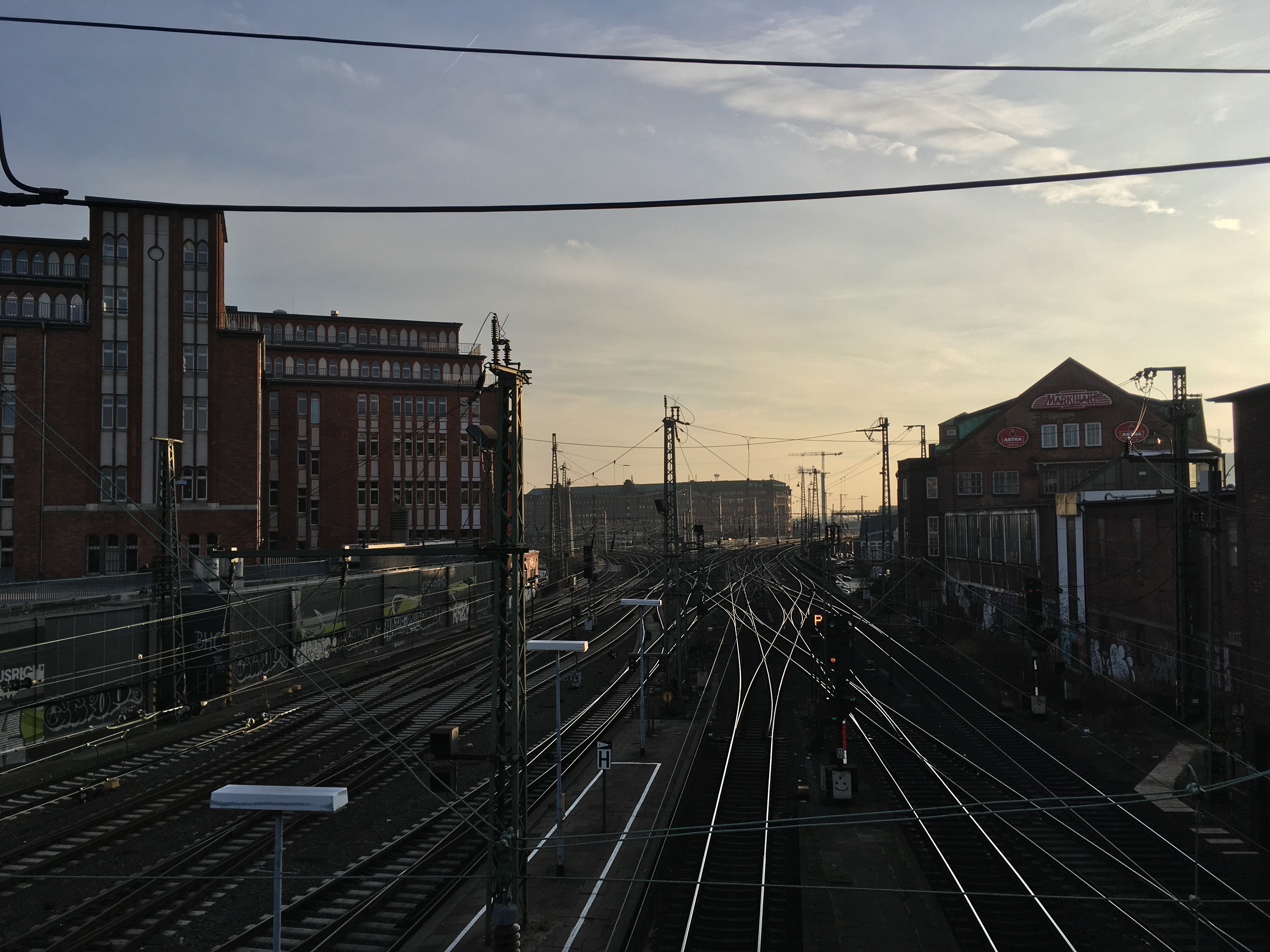 Tracks leading to Central Station - Hamburg - by Dennis Riebenstahl