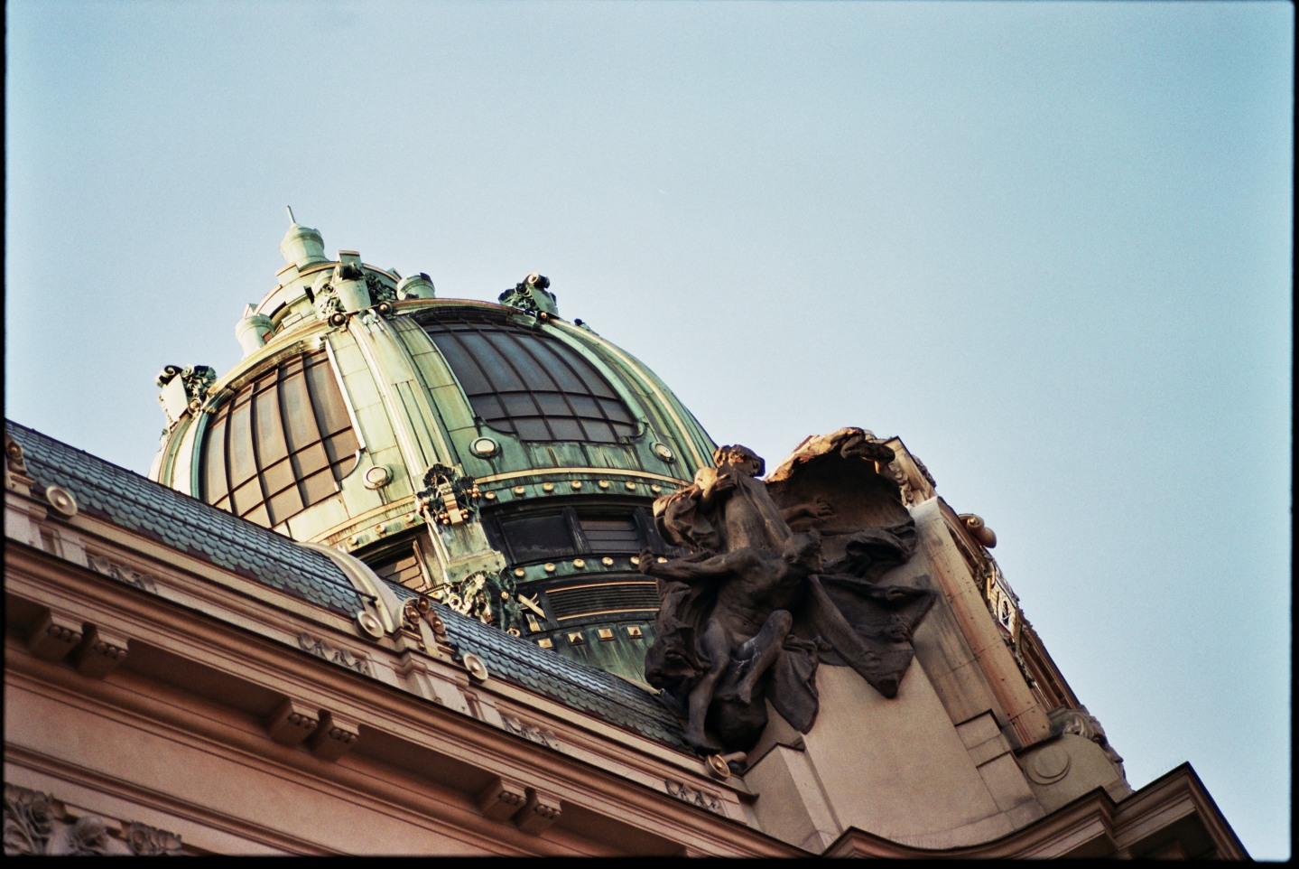 Old copper roof in Prague. Shot on 35mm.
