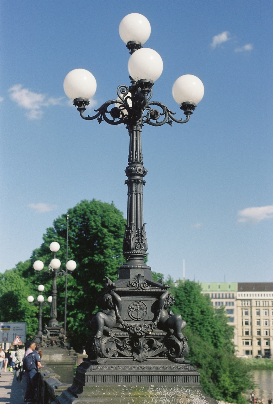 Street Light On Lombardsbrücke in Hamburg. Shot on 35mm Film.